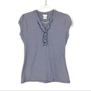 Maurices | Navy & White Striped Ruffle Tee